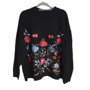 Black Floral Boho Embroidered Mock Neck Sweater